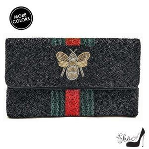 Beaded Bee Clutch Handbag